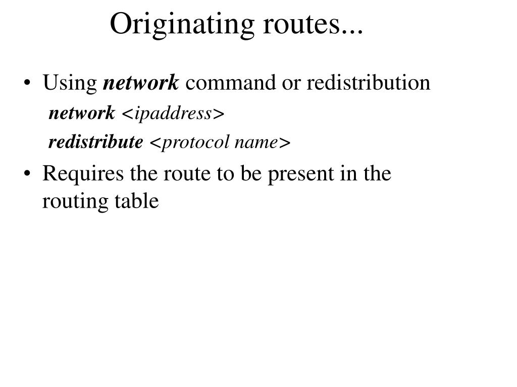 Originating routes...