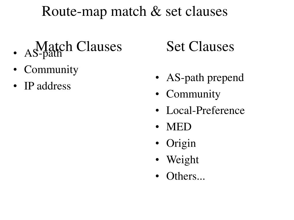 Route-map match & set clauses