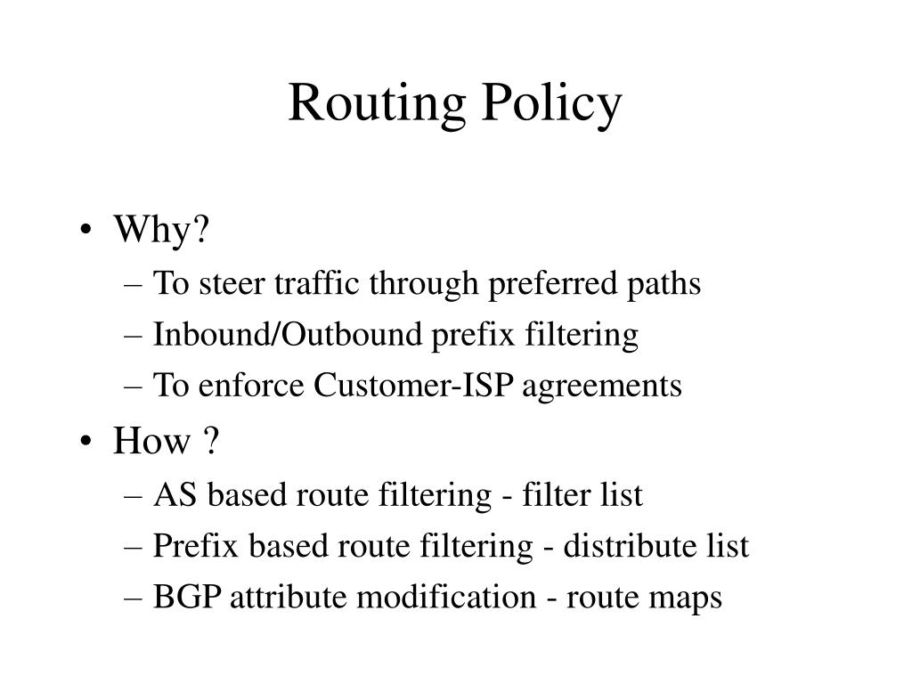 Routing Policy