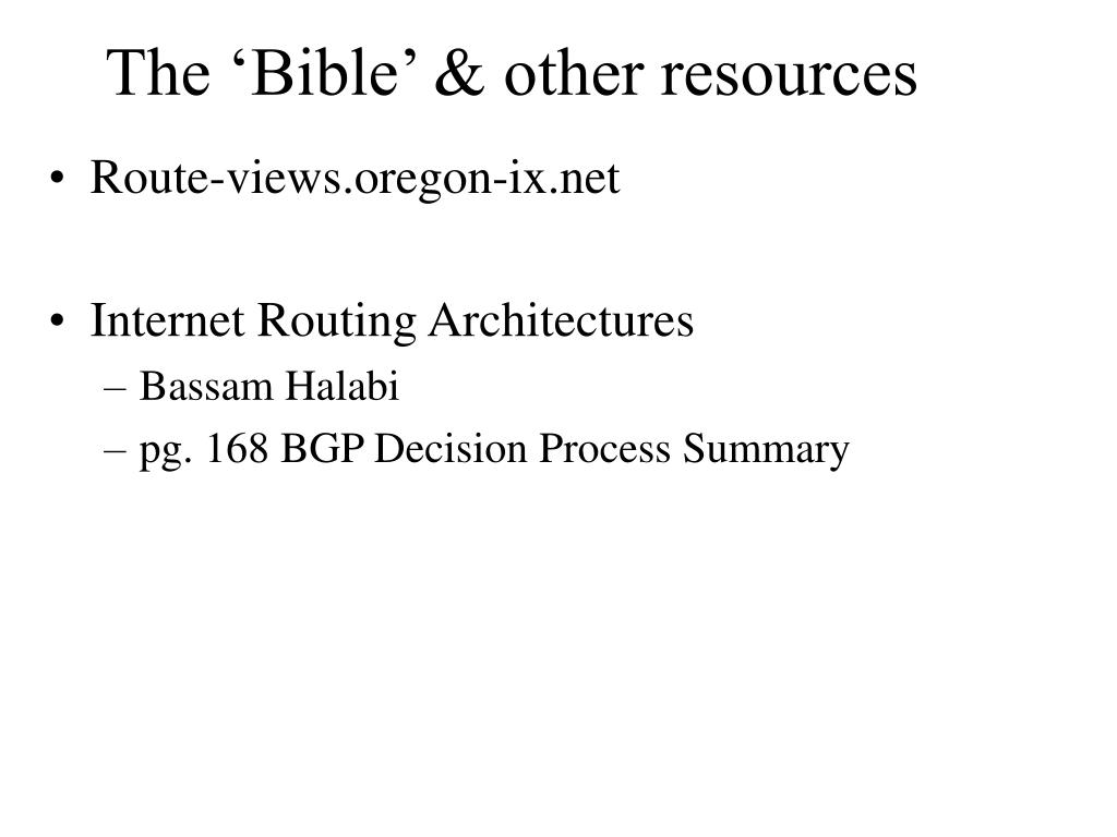 The 'Bible' & other resources