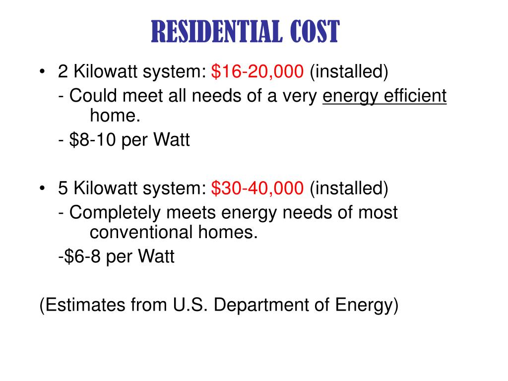 RESIDENTIAL COST
