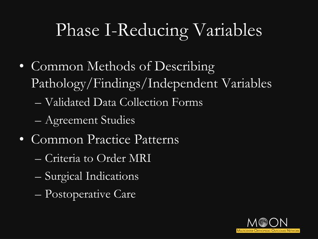 Phase I-Reducing Variables
