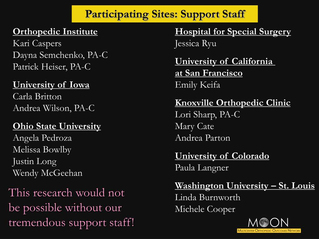 Participating Sites: Support Staff