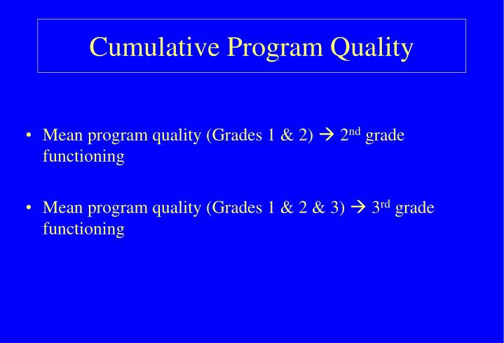 Cumulative Program Quality