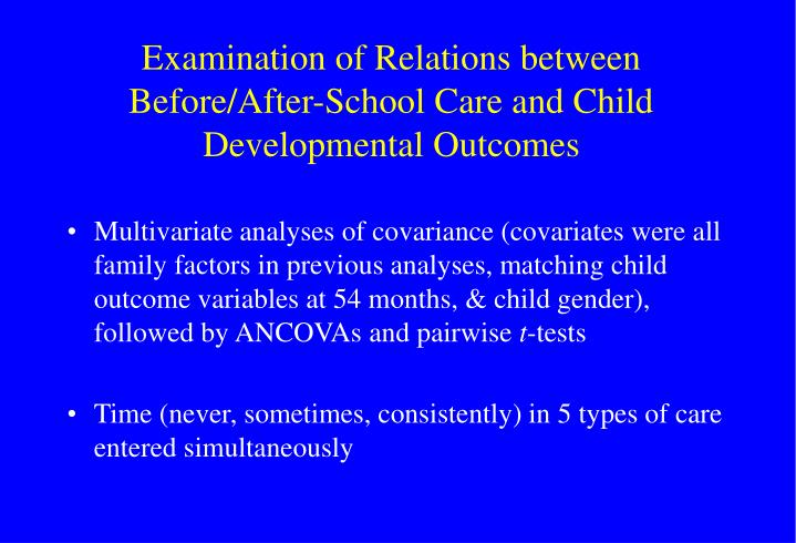 Examination of Relations between Before/After-School Care and Child Developmental Outcomes