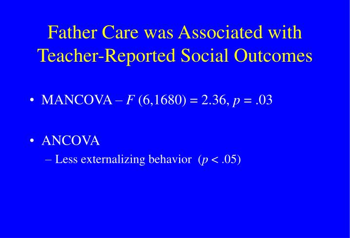 Father Care was Associated with Teacher-Reported Social Outcomes