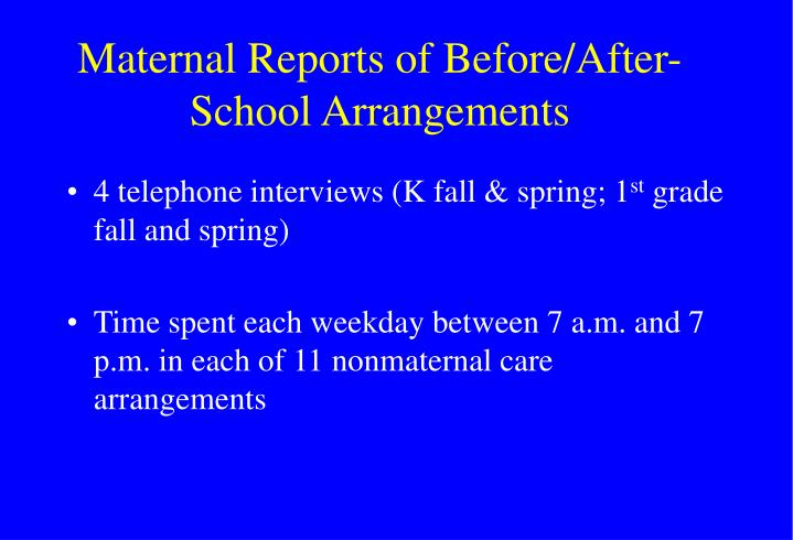 Maternal Reports of Before/After-School Arrangements