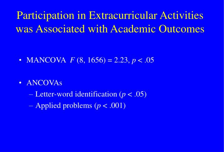 Participation in Extracurricular Activities was Associated with Academic Outcomes