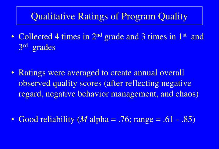 Qualitative Ratings of Program Quality