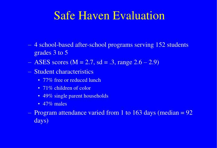 Safe Haven Evaluation