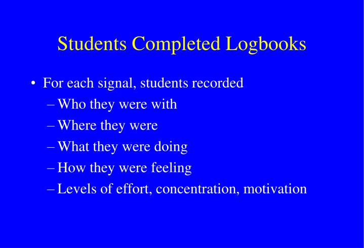 Students Completed Logbooks