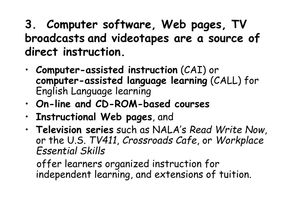 3.  Computer software, Web pages, TV broadcasts
