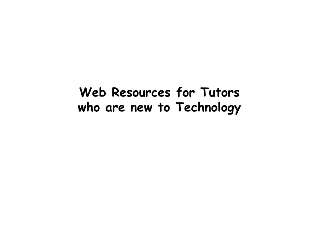 Web Resources for Tutors