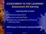 assessment is for learning assessment as learning