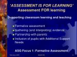 assessment is for learning assessment for learning