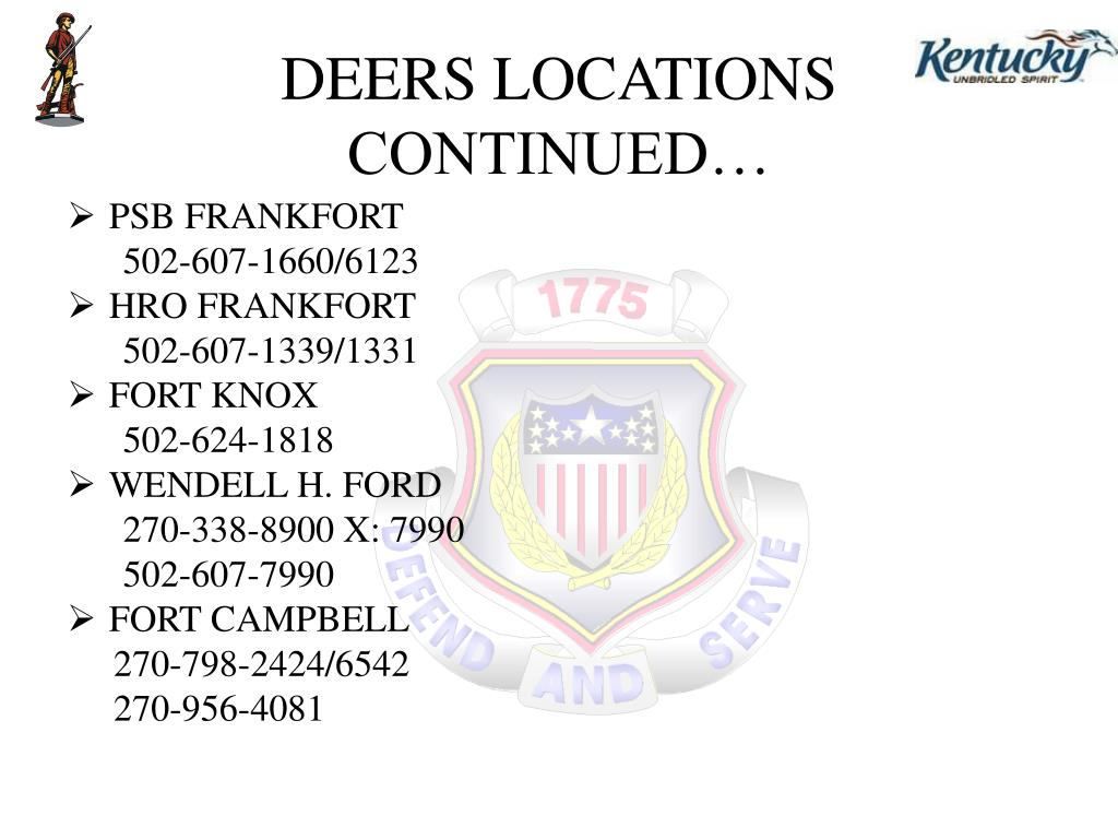 DEERS LOCATIONS