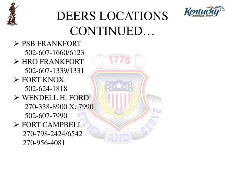 Deers locations continued