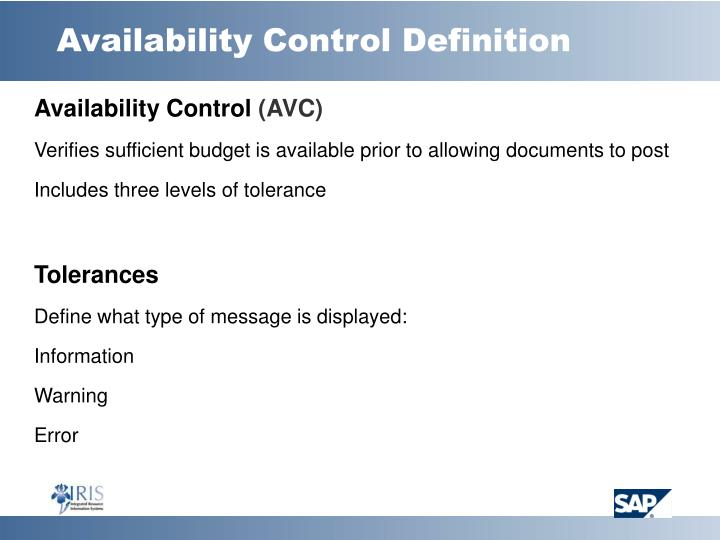 Availability Control Definition
