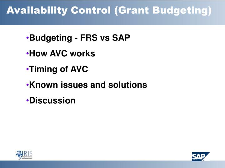 Availability Control (Grant Budgeting)