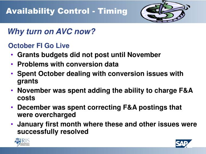 Availability Control - Timing