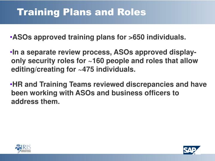Training plans and roles