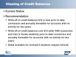 clearing of credit balances
