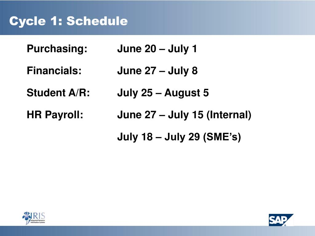 Cycle 1: Schedule