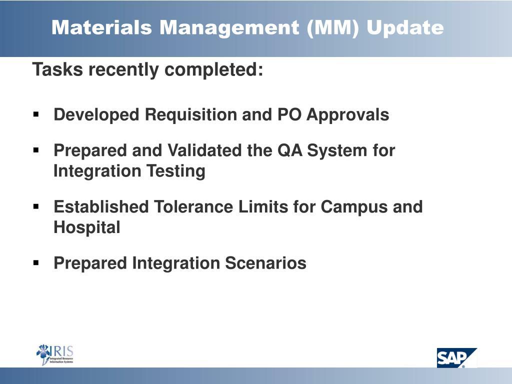 Materials Management (MM) Update