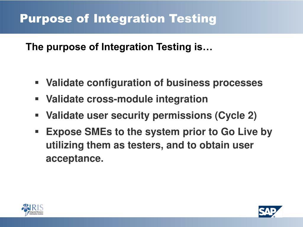 Purpose of Integration Testing