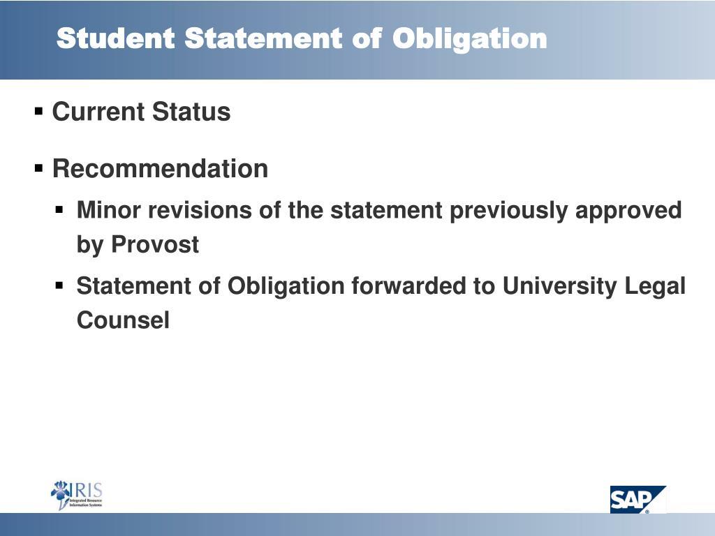 Student Statement of Obligation