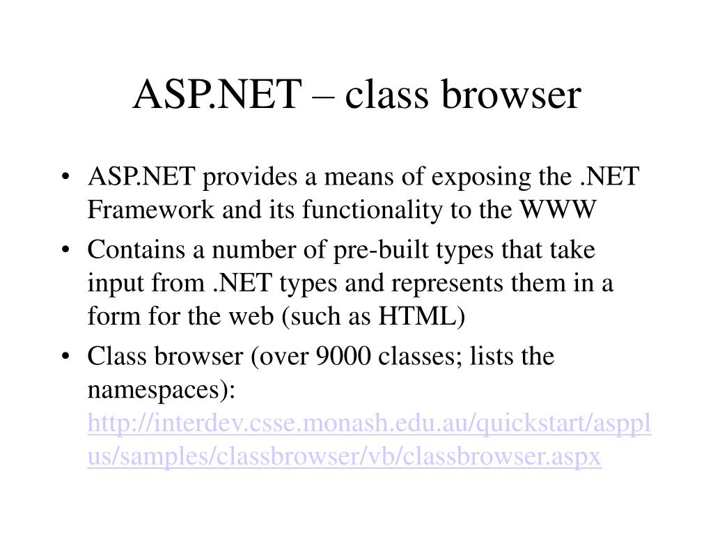 ASP.NET – class browser