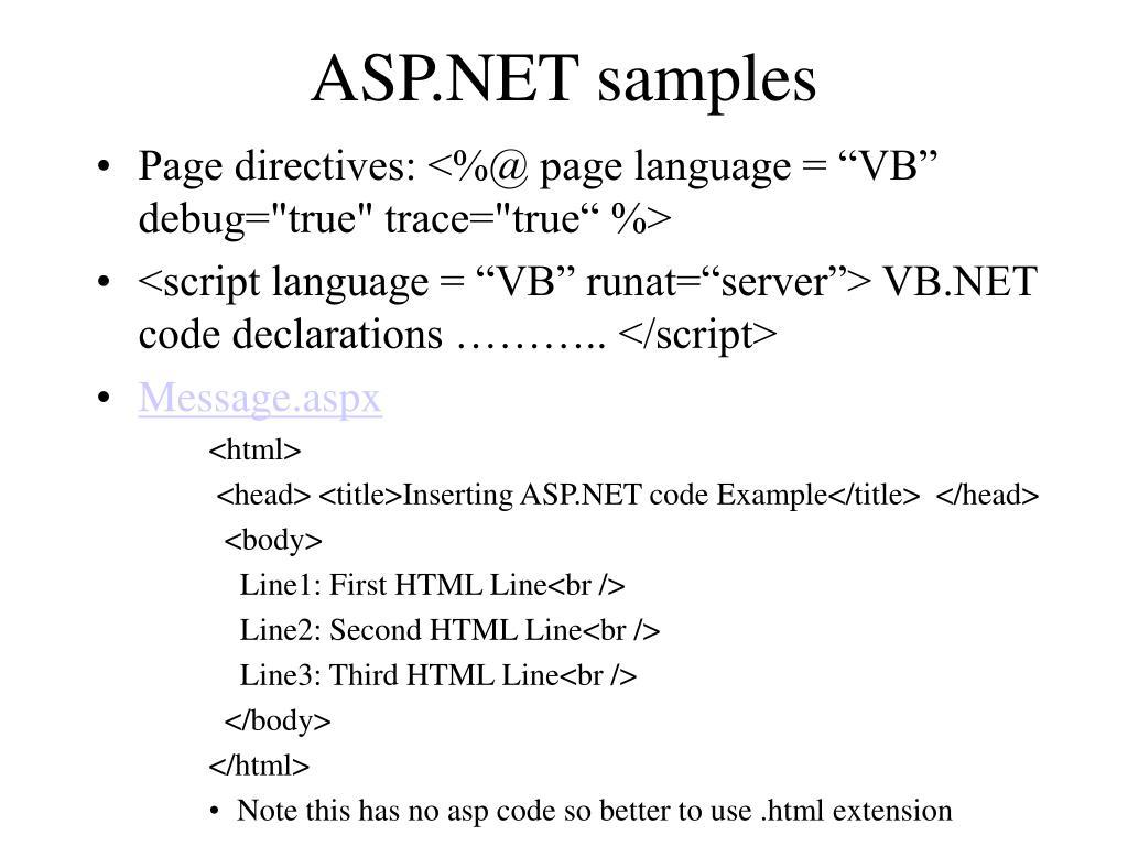 ASP.NET samples