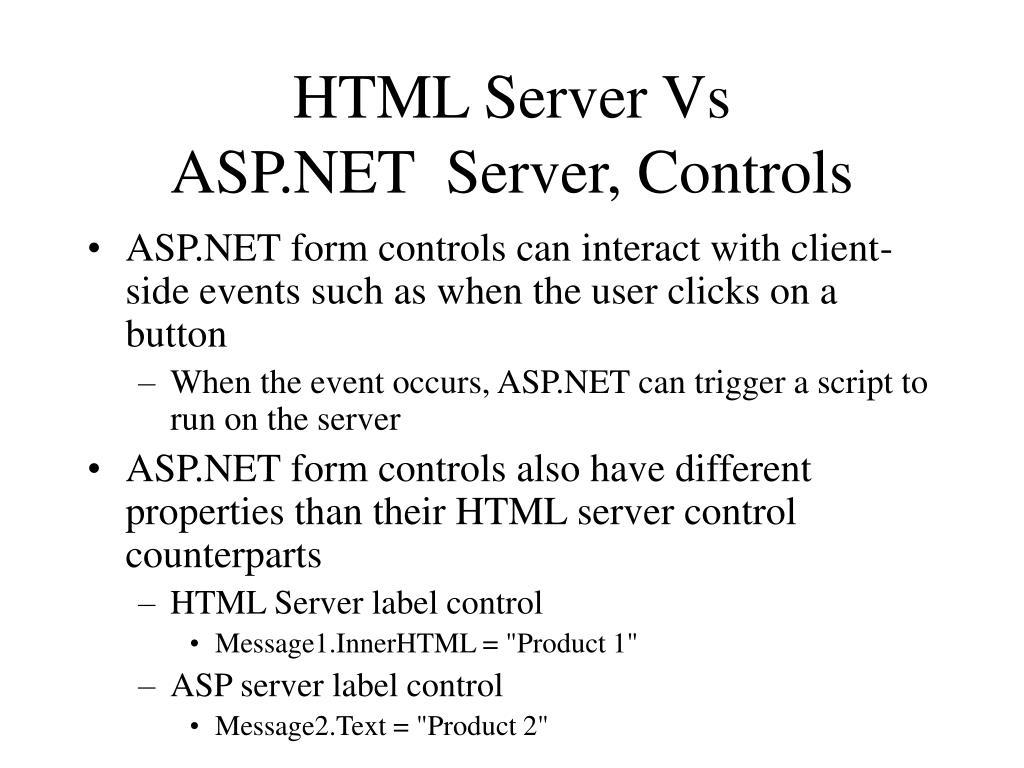 HTML Server Vs