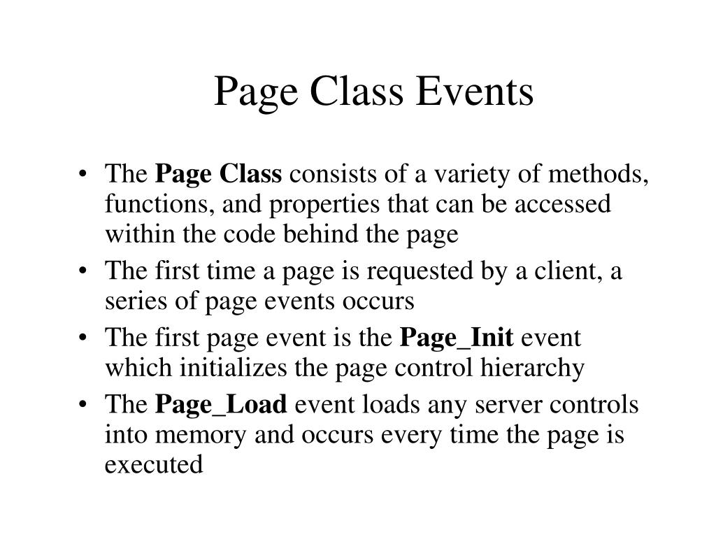 Page Class Events