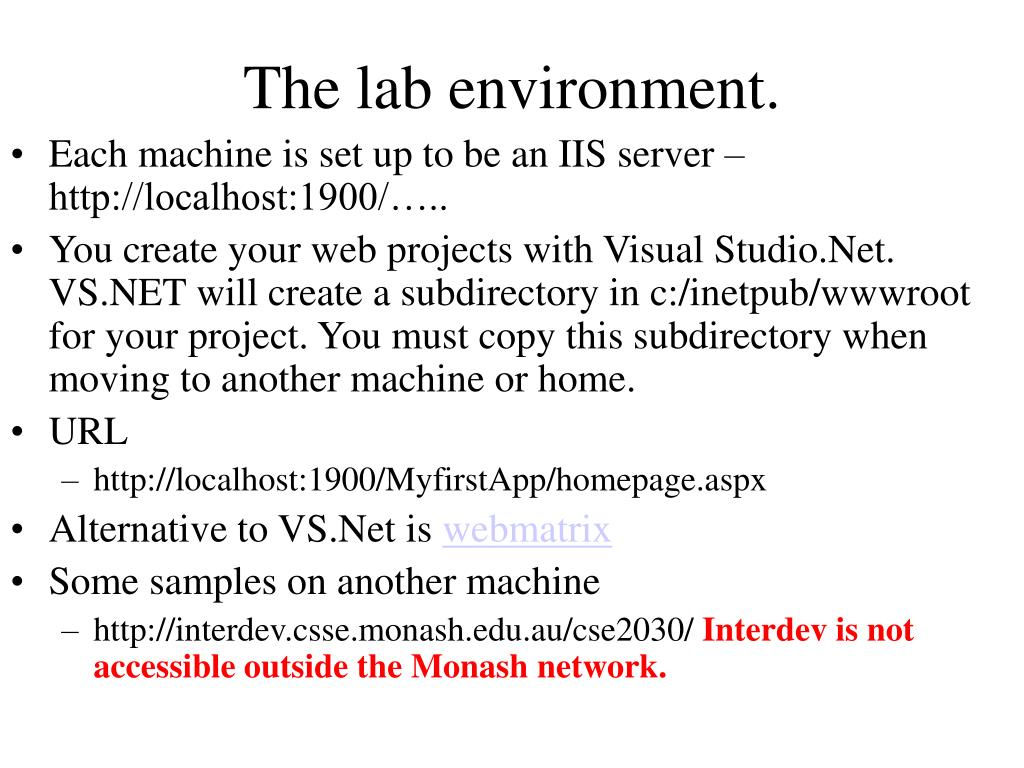 The lab environment.