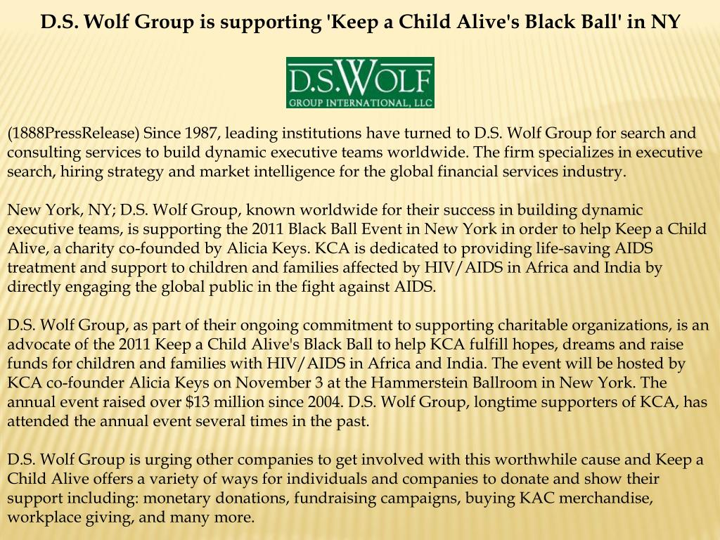 D.S. Wolf Group is supporting 'Keep a Child Alive's Black Ball' in NY