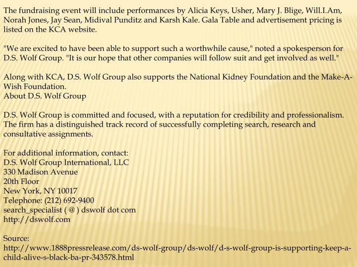 The fundraising event will include performances by Alicia Keys, Usher, Mary J. Blige, Will.I.Am, Nor...