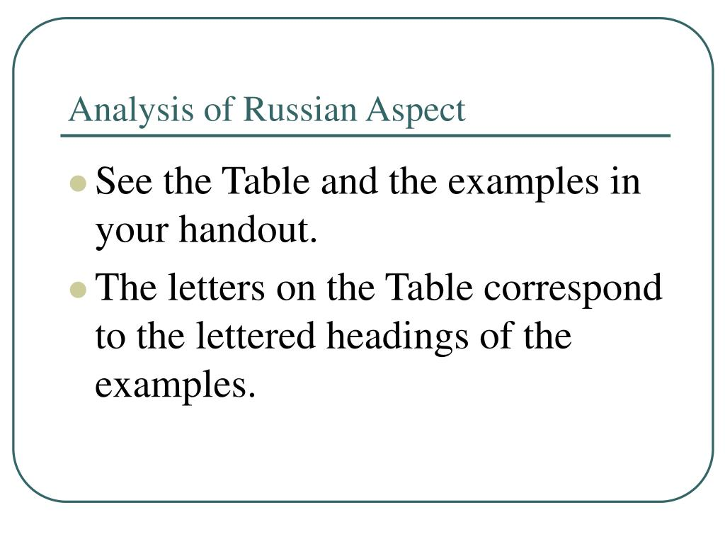 Analysis of Russian Aspect