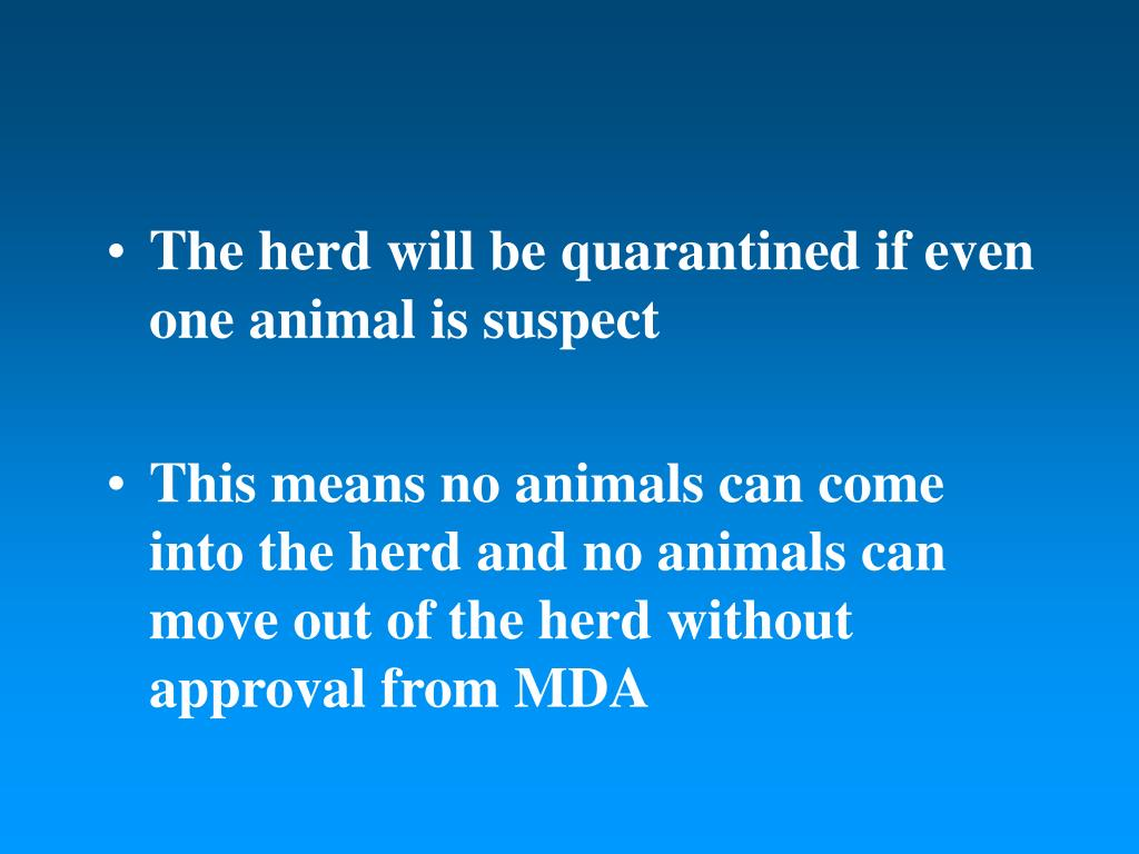 The herd will be quarantined if even one animal is suspect