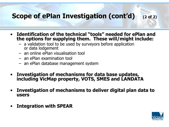Scope of ePlan Investigation (cont'd)