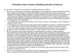 protective order in cases of stalking and acts of violence