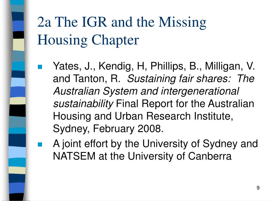 2a The IGR and the Missing Housing Chapter