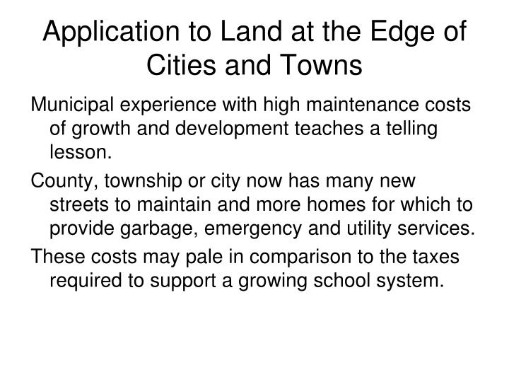 Application to Land at the Edge of Cities and Towns