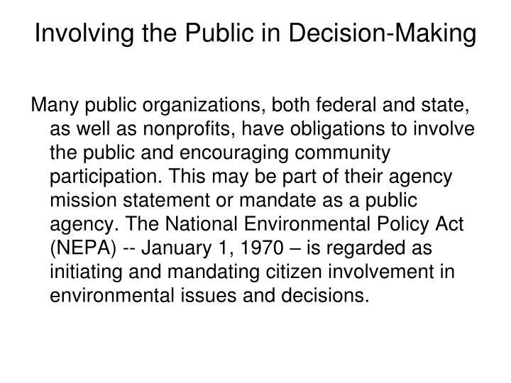 Involving the Public in Decision-Making