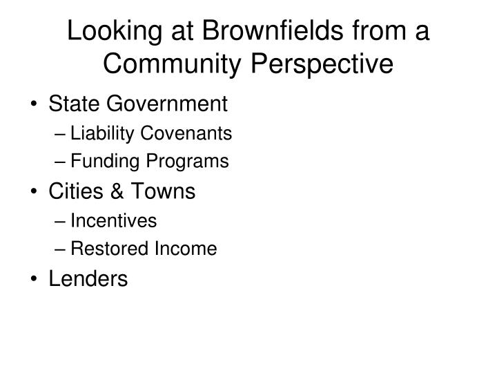 Looking at Brownfields from a Community Perspective