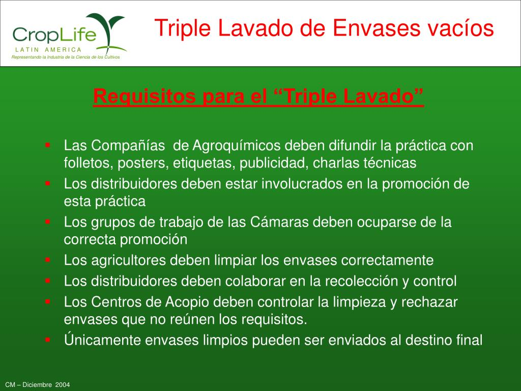 "Requisitos para el ""Triple Lavado"""