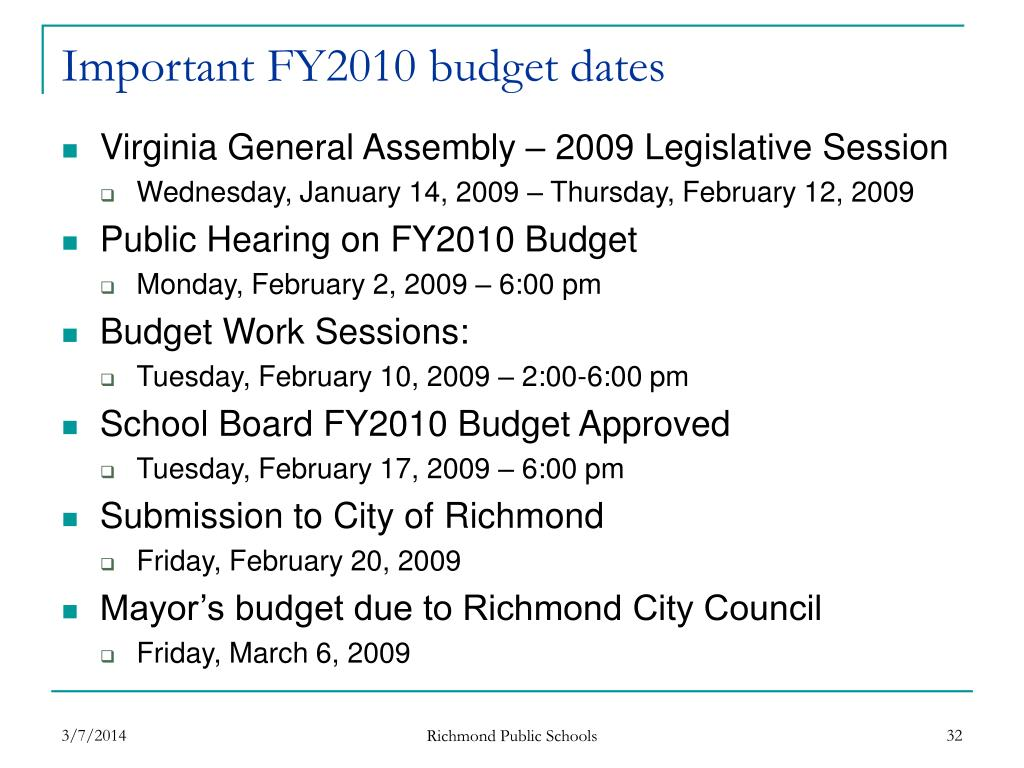 Important FY2010 budget dates