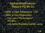 asphalt modifications require pg 64 22