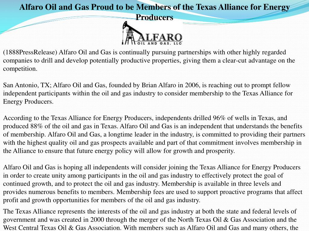 Alfaro Oil and Gas Proud to be Members of the Texas Alliance for Energy Producers