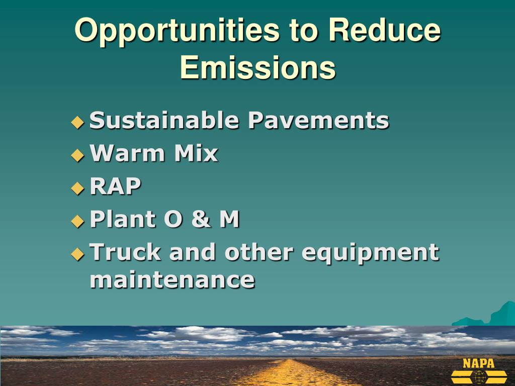 Opportunities to Reduce Emissions